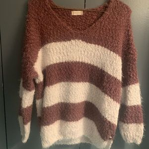 Altar'd State Cozy Oversized Striped Sweater